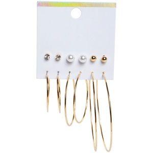 Gold hoops + stud earrings (6 pairs)